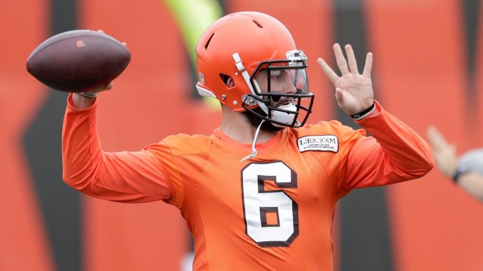 340ae74ba This June 12, 2018 photo shows Cleveland Browns quarterback Baker Mayfield  throwing during practice at the NFL football team's training camp facility  in ...