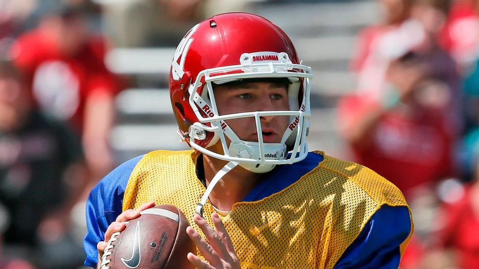 a031cc4584a FILE - In this April 8, 2017, file photo, Oklahoma quarterback Austin  Kendall looks for a receiver during the annual Oklahoma NCAA college spring  football ...